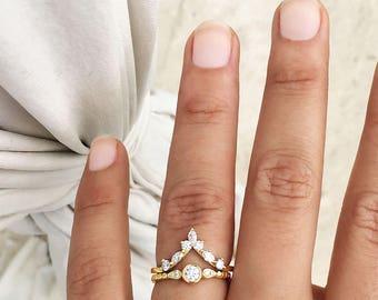 Natural Round Diamond Bezel Engagement Ring+Marquise Diamonds Wedding Band, Diamond Rings Bridal Set, Three Stone Ring & Chevron Side Band