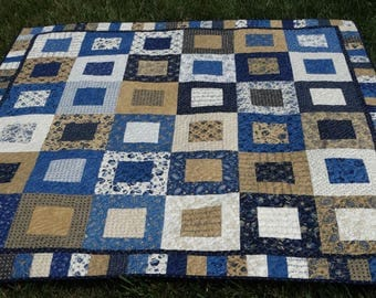 Americana Lap Quilt in Blues/Tans
