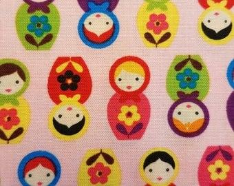 Suzy's Minis Matryoshka Dolls fabric in Pink by Robert Kaufman