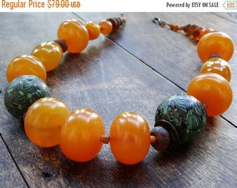 Sale Ethnic Amber and Handpainted Bead Necklace