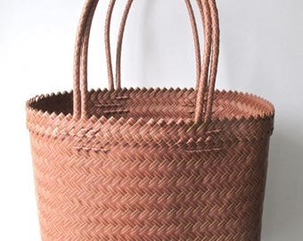 Sale SOLD-Mauve and Yellow Handwoven Tote, Market Bag