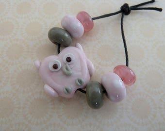 handmade lampwork pink owl glass bead set UK