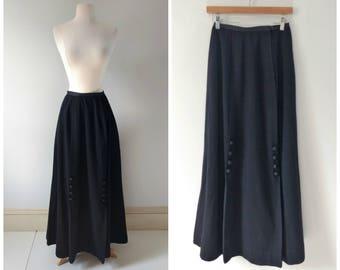 Vintage Victorian Edwardian black wool skirt, maxi skirt carriage riding skirt xs