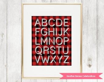 Lumberjack Alphabet Nursery Print | Printable ABC Woodland Nursery Decor | Red Buffalo Plaid Wall Art Instant Download