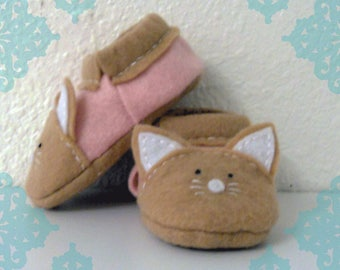 Felt Cat Baby Slippers- Tan and Light Pink Felt Kitten Baby Shoes