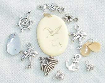 Summer Themed Charms - 13 pcs -  Jewelry Making Supplies