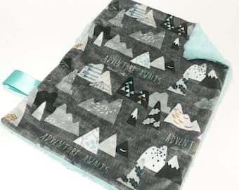 Mountains Baby Boy MINKY Lovey Blanket, MINI Minky Baby Blanket, Taggie Blanket, Adventure Awaits Charcoal Grey Lovey Blanket, Baby Shower