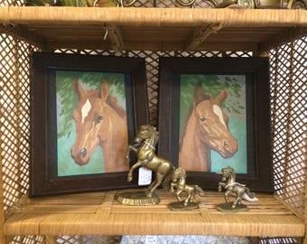 Set of 2 Vintage Framed Paint by Number - Horse Portraits