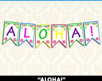 Aloha Banner, Printable Tropical Luau Banner, DIY Hawaiian Luau Party Decorations, Instant Download