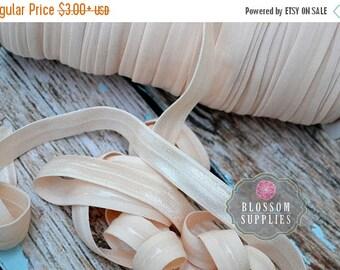 ON SALE NO Slip - Silicone Lined Elastic - 2, 5, or 10 Yards Nude 5/8 Inch Fold Over Elastic - Shiny foe - Baby Headband Elastic Pale Peach