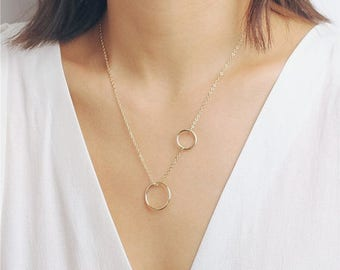ON SALE Delicate simple everyday double circle necklace - infinity necklace