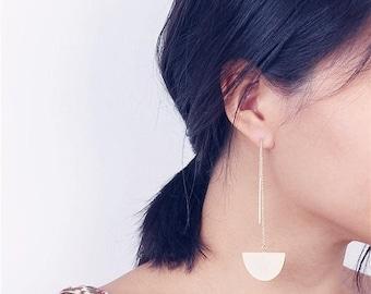 ON SALE Long threader half moon & bar earrings - asymmetrical earrings - Long thread earrings