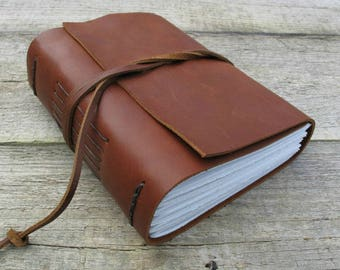 Custom Leather journal / personalized notebook with custom text quote / 320 pages