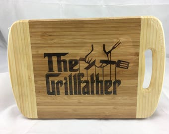 FREE SHIPPING. Father's Day gift, for your awesome Dad.  BBQ board, Cheese board, Bar board,cutting board. The Grillfather