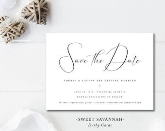 Sweet Savannah Printed Save the Dates | Save the Date Card and Envelope or Postcard | Printed or Printable by Darby Cards