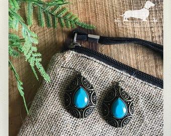 Teal Turquoise Drop. Dangle Earrings -- (Vintage-Style, Brass, Blue, Boho Chic, Jewel Drop Earrings, Chandelier, Bridesmaid Gift Under 10)