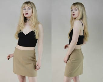 90s Beige High Waist Mini Skirt M