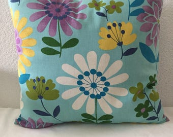 Single Pillow Cover, Throw Pillow Cover, Blue with multicolored Floral Print  18x18 inch square - Dorla in Aqua Printed by Mill Creek