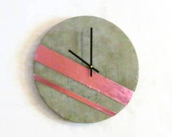 Concrete Wall Clock, Industrial Home Decor, Grey & Pink Leather Clock, Home and Living, Home Decor, Clocks