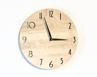 Wood Wall Clock,  Clock With Numbers, Laser Cut Numbers, Home and Living,  Home Decor, Clocks