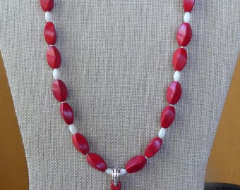 20 Inch Red Stone Cross Necklace with Earrings