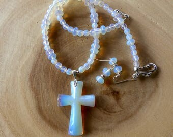 18 Inch Iridescent Opalite and Moonstone Beaded Cross Necklace with Earrings