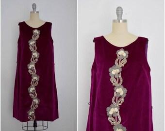 Vintage 1960s Magenta Velvet Shift Dress