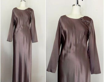 Vintage 1980s Chocolate Dress Long Sleeve