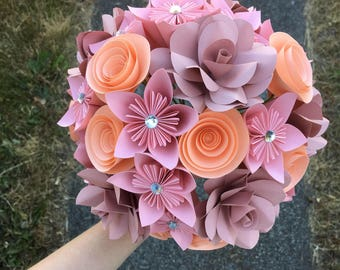 Paper flower bouquet, pink peach dusty rose , anniversary gift, birthday flowers, get well soon, customize flowers