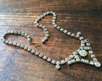 Rhinestone Necklace Vintage Jewelry Art Deco Revival 1960s SUMMER SALE