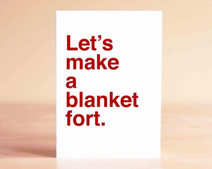 Funny Valentine Card - Boyfriend Valentine Card - Husband Valentine Card - Let's make a blanket fort.