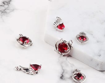8 pcs Diy accessories, alloy bracelet pendant, Red diamonds, wings pendants, charming earrings pendants