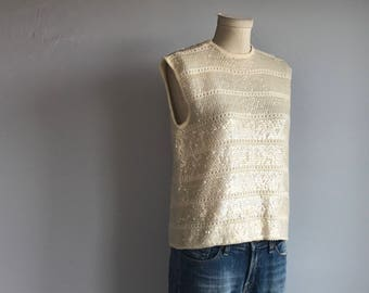 Vintage 60s Beaded Top / 1960s Cream Sequined Sleeveless Lambs Wool Tank Sweater / Pointelle Knit Sweater