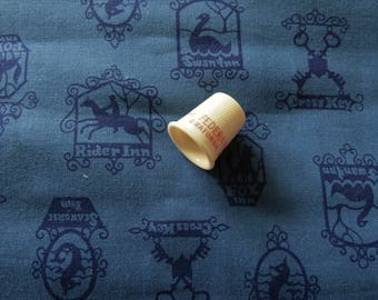 navy on blue novelty print vintage cotton fabric -- 36 wide by 1 yard