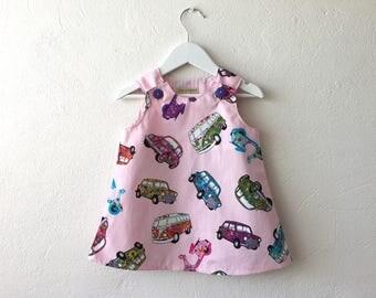 Baby toddler girl dress pinafore jumper dress 60s retro flower power dress