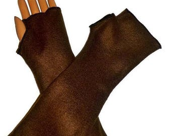 ON SALE Brown Fleece ArmWarmers,Gloves,Fingerless