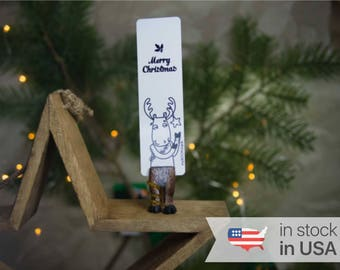 Reindeer bookmark. Christmas reindeer perfect gift for brother, sister, dad, teen boy, mom, women, teen girl, coworker, child, sister