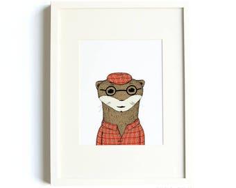 Mr. Otter Print, Nursery Print, Animal Nursery Print, Kids Decor, 8 x 10 Illustration Print, Animal Art, Otter Art, Quirky Print, Nursery