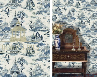 Dollhouse Miniature Wallpaper, Blue & White Toile Chinoiserie, Scale One Inch