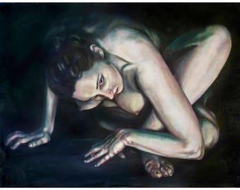 HYPERMOBILITY: ALICE  (art print by Mandem) - Figure Painting - Disability / disabled / EDS / cripplepunk art