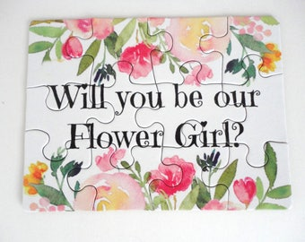 PUZZLE - Will you be our Flower Girl?, Bridal Party Puzzle, Flower Girl,