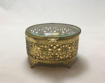 Vintage 24kt gold plate Jewelry Casket,Dresser Box,Jewelry Box