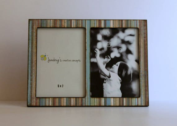 Double 4x6 Or 5x7 Wood Picture Frame Blue Brown Stripes