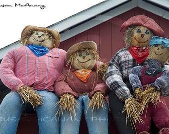 Scarecrow Family Photo, Halloween Digital Download, Fall Clipart, Header Image, Halloween Clip Art, Clipart, Scarecrow Digital Photo