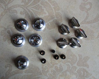 Vintage Knobs - Appliance Salvage, 5 Metal Appliance Knobs, 5 Chrome Knobs, 5 Small Plastic Knobs, Timers, Clock, Replace or Repurpose