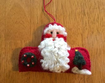 Wonderful Needle Felted Santa Christmas Ornament Head And Shoulder Shaped