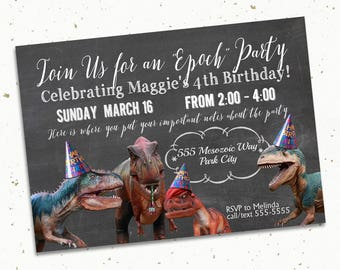 Dinosaur Birthday Party Invitation, Printable -- 5x7""