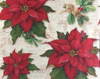 Decoupage Paper Napkins - set of 4 - Ephemera for Decoupage, Scrapbooking, Card making, Collage, Altered Art and Crafts
