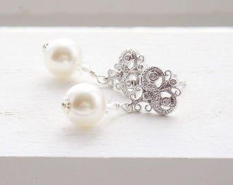 Vintage inspired pearl and crystal bridal earrings, pearl earrings, bridal jewelry, bridal jewellery, bridal earrings, wedding earrings
