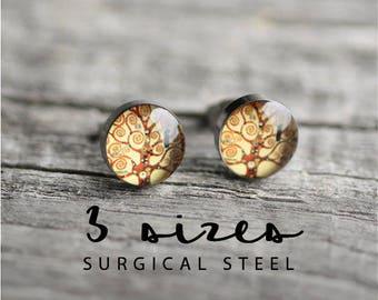 Tree of life earring studs, Klimt post earrings, Surgical steel studs, Tiny earring studs, Art stud earrings, gift for her